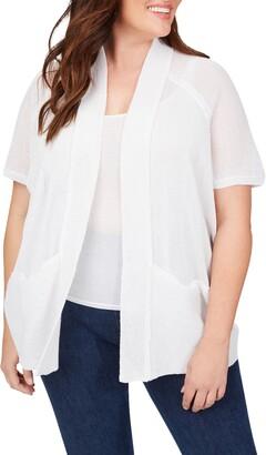 Foxcroft Perla Linen Blend Open Front Cardigan
