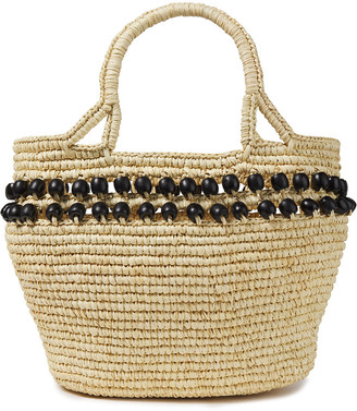 Sensi Bead-embellished Woven Toquilla Straw Tote