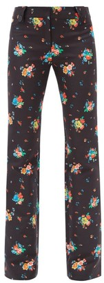 Paco Rabanne Floral-print Cotton-blend Flared Trousers - Black Print