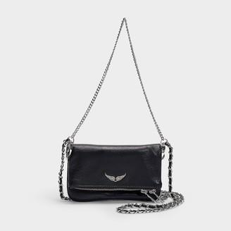 Zadig & Voltaire Rock Nano Metal Bag In Black Calfskin