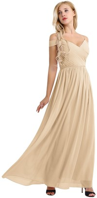 CHICTRY Women's Soft Chiffon Off-Shoulder Long Maxi Dress Bridesmaid Evening Dress Champagne 10