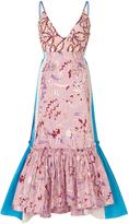 Peter Pilotto Taffeta Jacquard Embellished Strap Dress