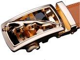 BadAssLeggings ForeverBelts Men's Faux Leather Ratchet Belt Gold With Strap