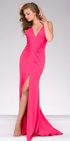 Jovani Ruched High Slit V-neck Prom Dress