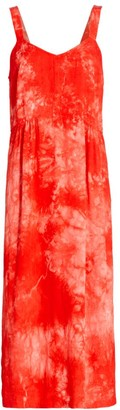 Raquel Allegra Tie-Dye V-Neck Midi Dress