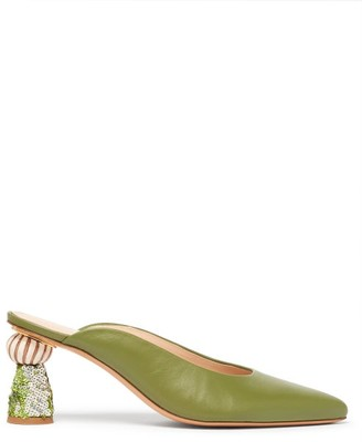 Jacquemus Maceio Embellished-heel Leather Mules - Womens - Green