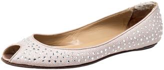 Valentino Beige Embellished Glitter Fabric Peep Toe Ballet Flats Size 40