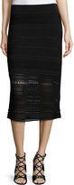 Ohne Titel Crochet-Knit Midi Pencil Skirt, Black