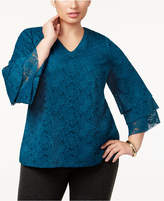 Charter Club Plus Size Tiered-Sleeve Lace Top, Created for Macy's