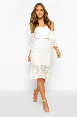 boohoo Occasion Heavy Lace Off The Shoulder Frill Midi