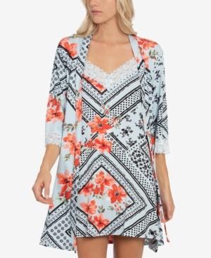 Linea Donatella Lace-Trim Chemise Nightgown & Wrap Robe Set
