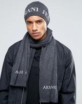 Armani Jeans Logo Gift Set Beanie & Scarf