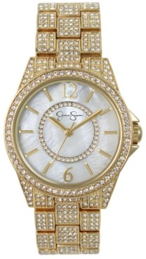 Jessica Simpson Women's Crystal Encrusted Gold Plated Bracelet Watch 36mm