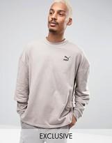 Puma Double Sleeve Crew Sweatshirt In Beige Exclusive To Asos