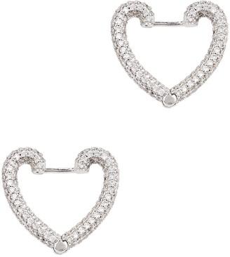 Fallon Crystal-embellished Heart Hoop Earrings