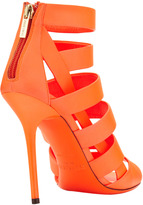 Jimmy Choo Dame Caged Leather Bootie, Neon Flame