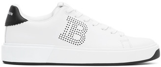 Balmain White and Black Perforated B-Court Sneakers