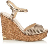 Jimmy Choo PERLA 120 Nude Matt Metallic Embossed Leather Sandals with Lasered Cork Covered Wedge
