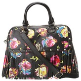 Betsey Johnson Fringy Floral Dome Satchel (Black) - Bags and Luggage