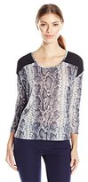 Calvin Klein Jeans Women's Printed 3/4 Sleeve Linen Mixed Media Top