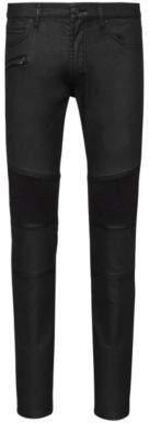 HUGO Skinny-fit biker jeans in coated black stretch denim