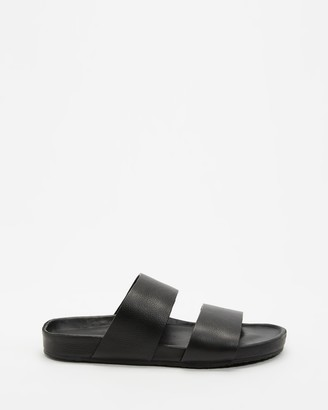 Assembly Label - Women's Black Flat Sandals - Double Strap Slides - Women's - Size 36 at The Iconic