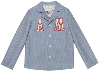 Gucci Kids Wool and mohair checked blazer