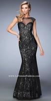 La Femme Cap Sleeve Sweetheart Lace Prom Dress
