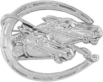 1928 Silver-Tone Horseshoe & Horses Pin