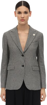 Lardini Houndstooth Virgin Wool Blend Blazer
