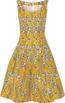 Oscar de la Renta Pleated floral-print satin-twill dress