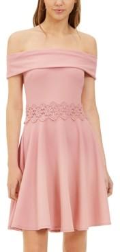 B. Darlin Juniors' Off-The-Shoulder A-Line Dress