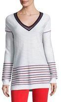 St. John Sport Collection Striped V-Neck Pullover