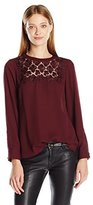 Vince Camuto Women's Long Sleeve Blouse with Embroidered Lace Yoke