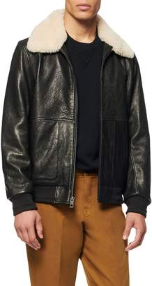 Andrew Marc Cuthbert Leather Bomber Jacket with Removable Genuine Shearling Collar