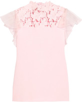 Giambattista Valli Silk-organza And Guipure Lace-trimmed Jersey Top - Baby pink
