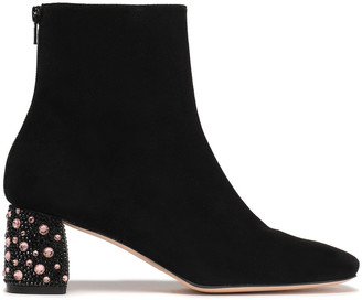 Stuart Weitzman Crystal-embellished Suede Ankle Boots