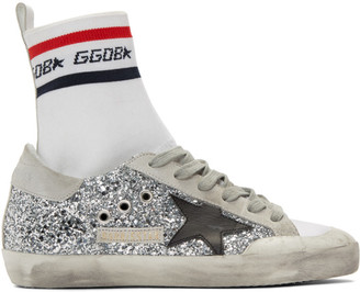 Golden Goose White and Silver Superstar Sock High-Top Sneakers