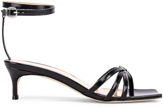 BY FAR Kaia Semi Patent Leather Sandal in Black | FWRD