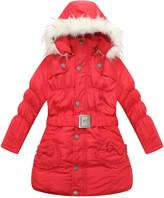 Richie House Girls' Padded Winter Jacket with Pockets, Belt and Fur Hood RH0785-D-9/10