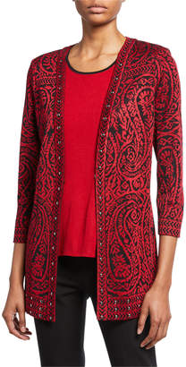 Misook Paisley 3/4-Sleeve Long Jacket with Stud Detail