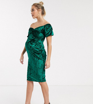 Bardot Flounce London Maternity velvet midi dress in emerald