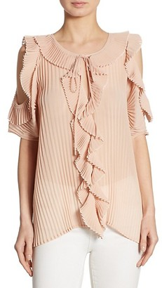 DELFI Collective Monica Pleated Ruffled Cold-Shoulder Top