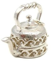 Welded Bliss Sterling 925 Silver Kettle Opening Hinged Charm Showing Tea Pot, Cup And Saucer. WBC1121