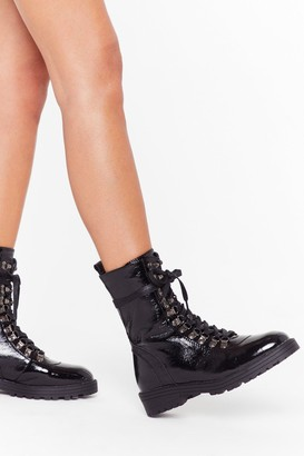 Nasty Gal Womens D-Ring Your Patent Faux Leather Boots - Black