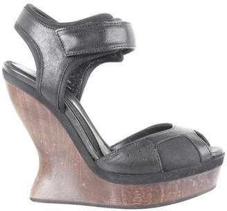 Alexander McQueen Black Leather Wooden Wedges Sandals Size 36