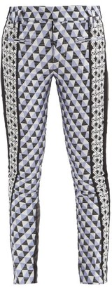Haider Ackermann Triangle-check Jacquard And Leather Trousers - Multi