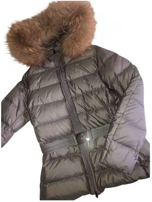 Moncler Fur Hood Grey Raccoon Coat for Women