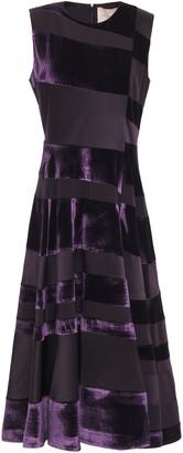 Roksanda Paneled Silk-blend Crepe De Chine And Velvet Midi Dress