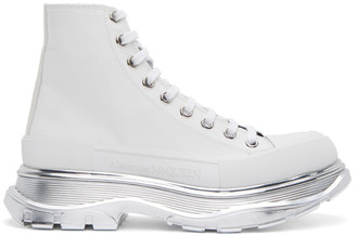 Alexander McQueen White and Silver Tread Slick Platform High Sneakers